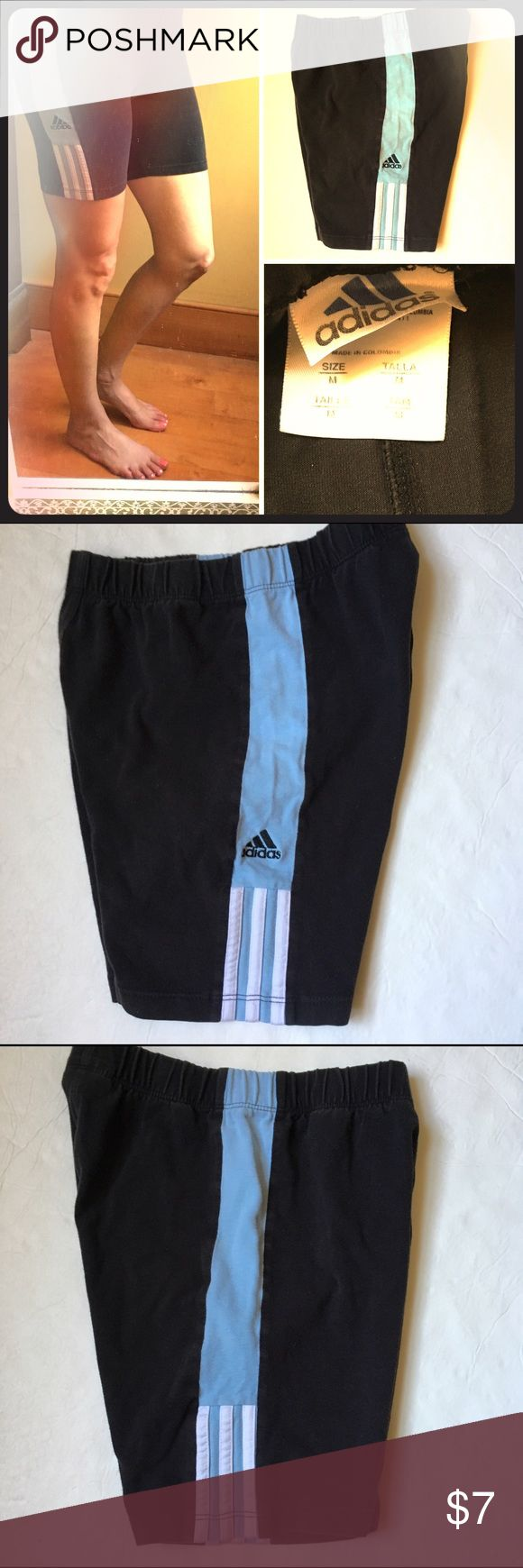 ⭐️Adidas black spandex shorts Good condition black spandex shorts with light blue stripes on sides of leg. adidas Shorts