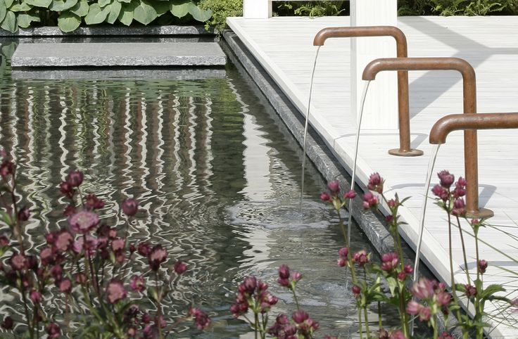 This water feature devides the lawn and decking only connected by stepping stones,  along the deck are copper taps with densely planted with dark pink Astrantias