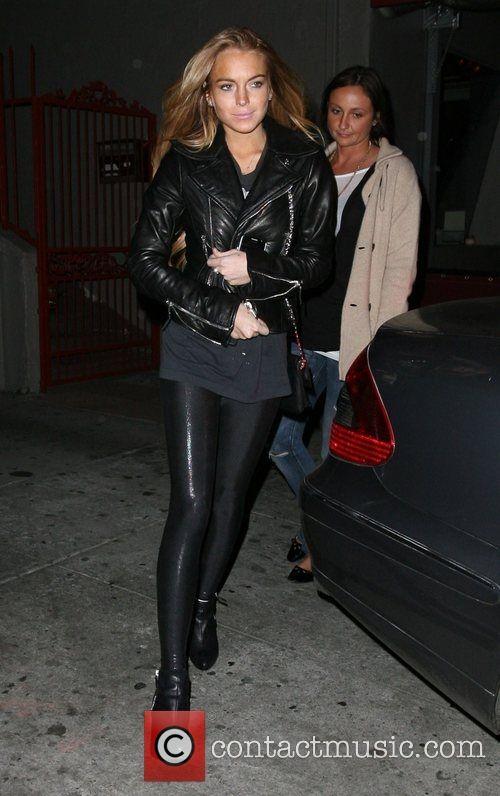 Lindsay Lohan Leather Jacket February 2017
