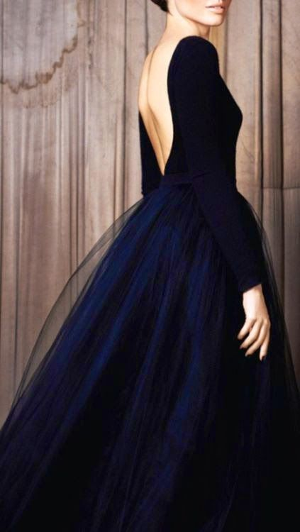 Beautiful open back tulle dress with a gorgeous navy color!                                                                                                                                                                                 More