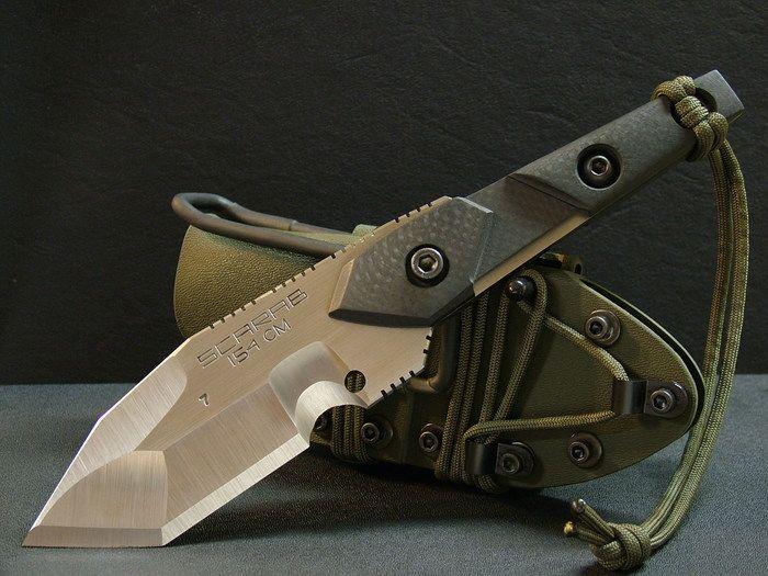 Scarab Model 7. Knifemaker Dwaine Carillo. Solid carbon fiber grips.