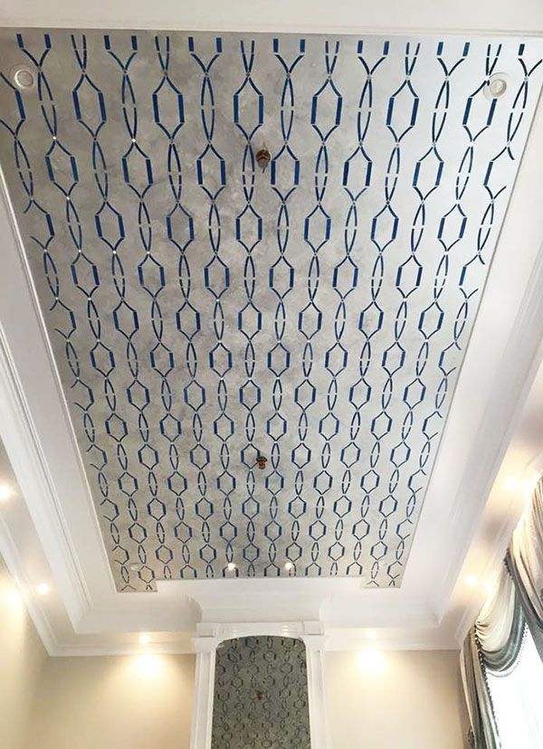 Platinum Metallic Paint Finish On Stenciled Ceiling By
