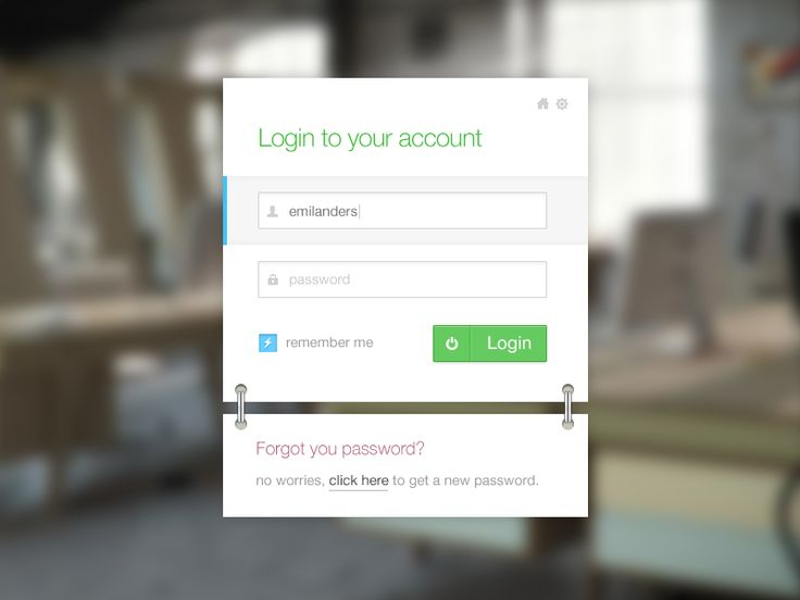 Metro style login extra by Emil Anderzon