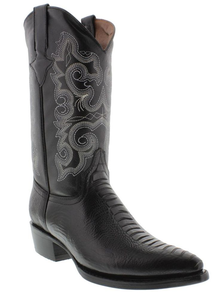 Men's ostrich leg cowboy boots black leather team west exotic rodeo dance #TeamWest #CowboyWestern
