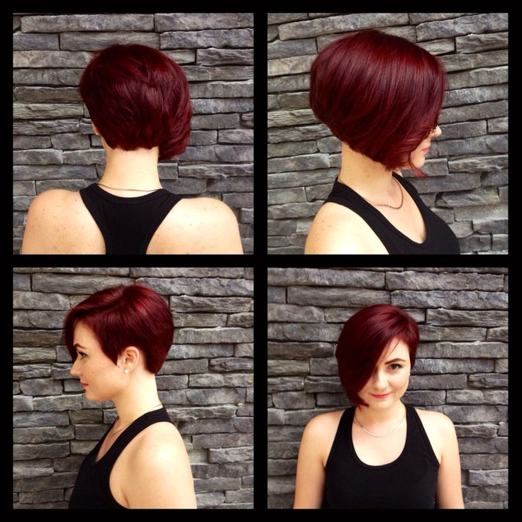 Asymmetrical Frankie Sandford haircut. Red violet hair color