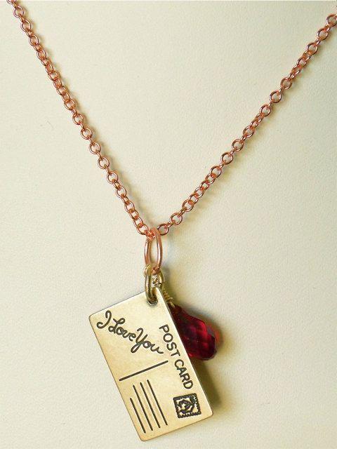 I Love You letter pendant. Ruby Swarovski crystal briolette. Postcard necklace