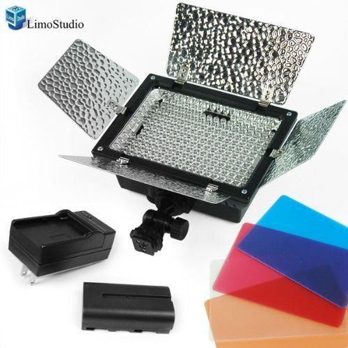 LimoStudio Photo Studio 200 LED Barndoor Photography Video Camera Lighting Kit 4Color, Filters with Battery Kit, AGG1045