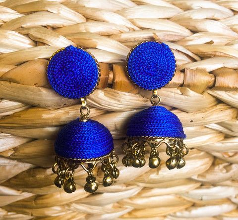 Blue Silk Jhumka