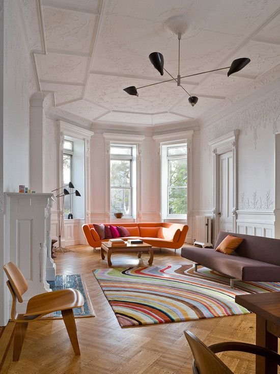 Orange Sofa Design, Pictures, Remodel, Decor and Ideas.. i like the couches! and the ceiling and ceiling fan