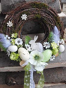 Dekorácie - Veľkonočný veniec s dreveným zajacom - 6497296_