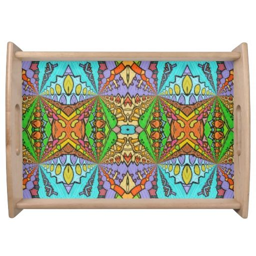 colorful kaleidoscopic pattern serving tray