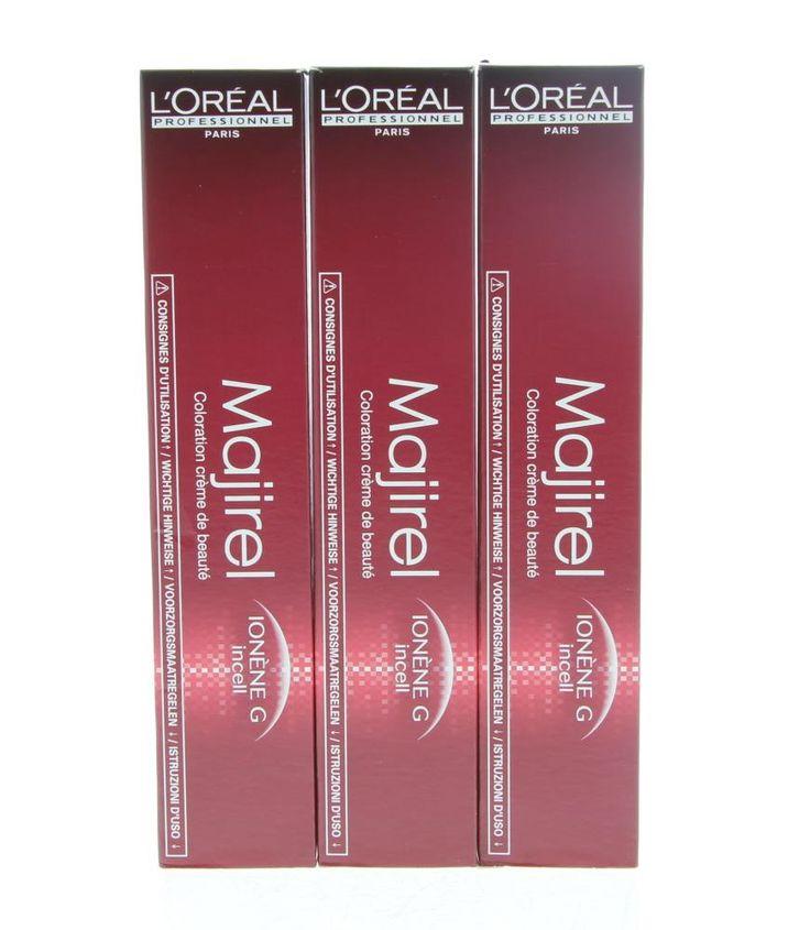 L'Oréal Professionnel Majirel Haarverf 6.3 50ml  L'Oréal Professionnel Majirel. Deze crèmekleuring bevat Ionen G  Incell wat het haar verzorgt versterkt en beschermt van binnenuit. Maakt het haar zachter en makkelijk doorkambaar. Deze kleurcreatie heeft een perfecte grijsdekking en een krachtige diepe intense kleur. Gegarandeerd langhoudbare kleur.  EUR 9.25  Meer informatie