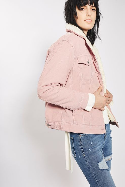 pastel pink MOTO cord oversized western jacket with soft borg collar.