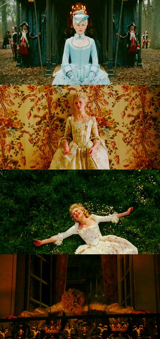 Marie Antoinette -   The three periods of the film has Kirsten Dunst change her body language and voice to emphasize what the filmmakers call  the Pink stage, the White stage, and the ultimately the Black stage of the ill-fated Queen.