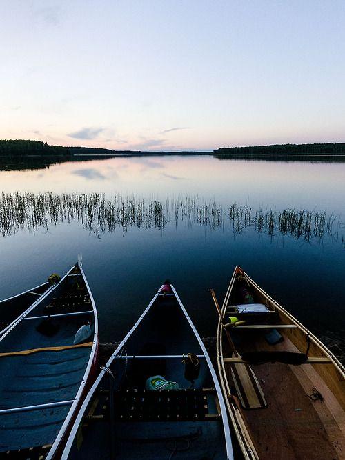 .  asphotographics:      Canoes at Sunset, Knee Lake, Churchill River, Saskatchewan, Canada