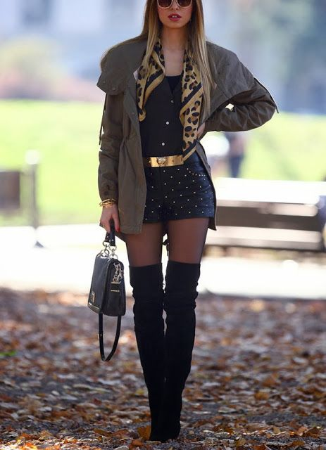 Fall Fashion Tall Black Boots With Shorts And Leggings Fav