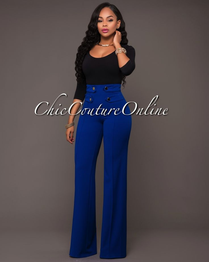 Chic Couture Online - Harveen Royal-Blue Tabs Gold Buttons Palazzo Pants, $50.00 (http://www.chiccoutureonline.com/harveen-royal-blue-tabs-gold-buttons-palazzo-pants/)