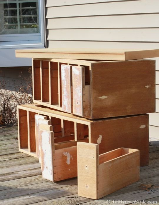 Pull out drawers wood-file-cabinet. Excellent magazine storage