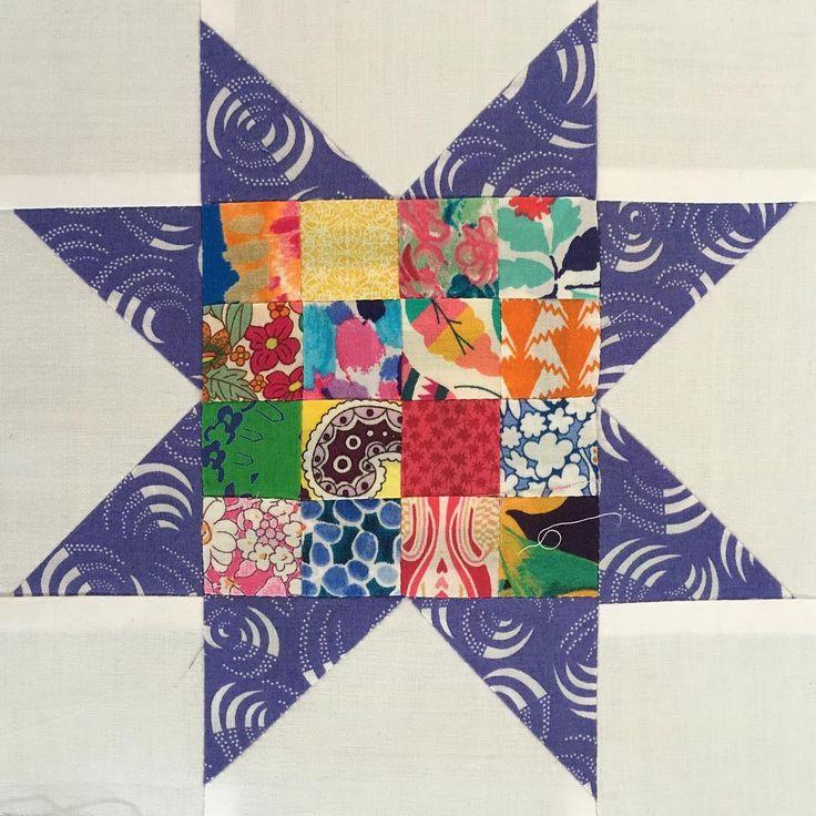 Another block for my #farmgirlvintage quilt! #libertyfabric #libertylawn #aurifil #bernina350
