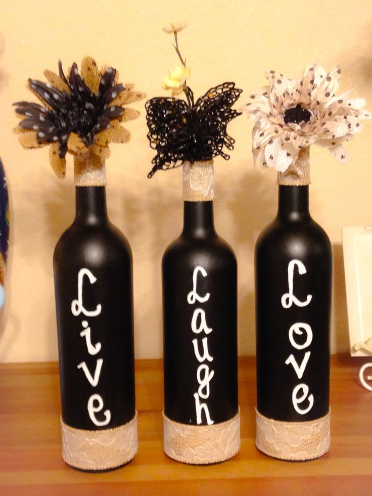 Live Laugh Love, Wine Bottles, Upcycled, DIY