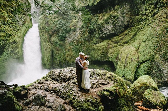 Wahclella Falls elopement shot by Dylan and Sara