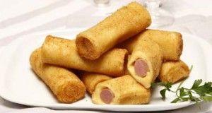 Canelones fritos de salsichas