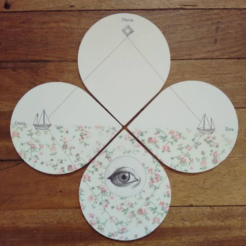 """"""" El triángulo de las Bermudas """" set de 4  posa vasos pieza única #Himallineishon #coasters #homedecore #illustration #boat #flower #eye #handpainted"""