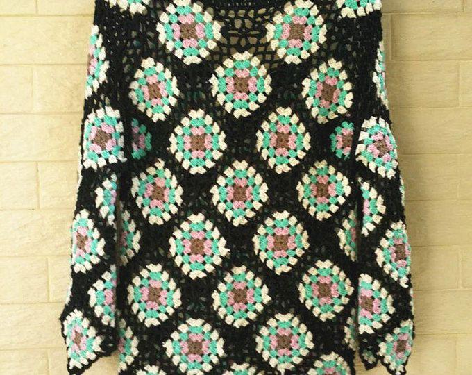 Abuela Plaza suéter del ganchillo de manga larga mujer puentes
