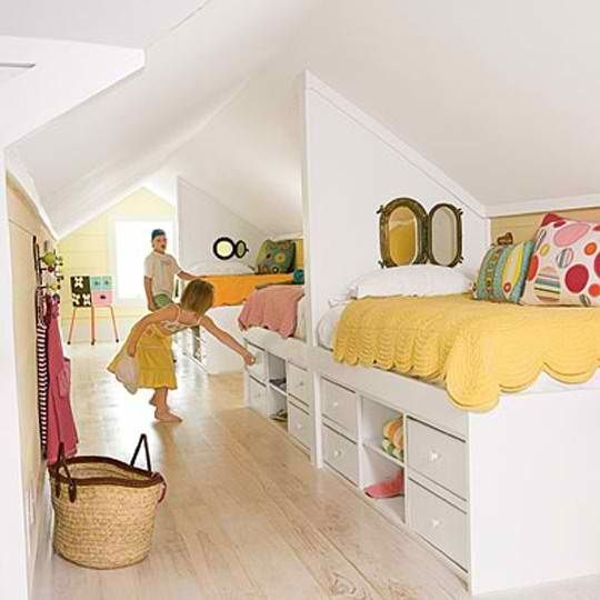 Kids attic bedroom - cute window peep holes