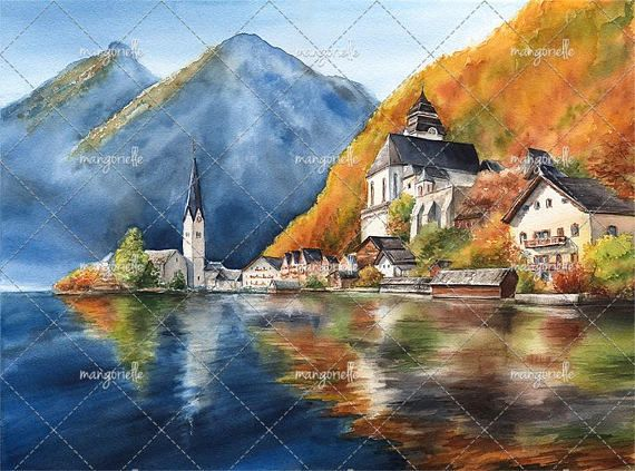 Its my original watercolor painting of Hallstadt, Austria :) Size: 15,75 x 11,81 inches (40 x 30 cm including white frame – 1 cm) Medium: lightfast watercolors, Moulin du Roy watercolor paper, 100% cotton 300 gsm  Painting is not framed, because the framing will increase the cost of the