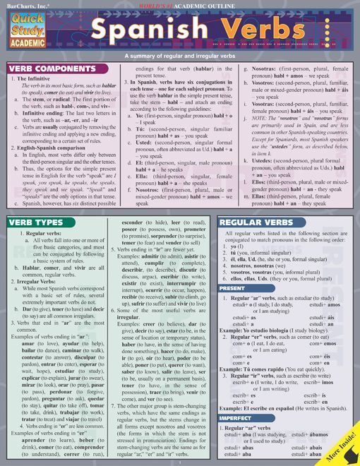 Basics of Spanish verbs in our easily accessible format. This 6-page guide includes: verb components, verb types, regular verbs, reflex verbs, passive voice, imperative mood, irregular verbs, useful verbs (regular & irregular). http://www.Examville.com #studyguide #testprep #downloads #ebooks #free #education #classrooms #lessonplans #teaching #homeschool #school #college #teachers #examville #spanish #spain