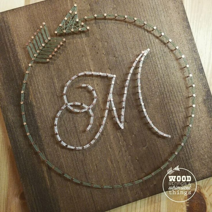 Circle Arrow Initial String Art by ramblinstrings on Etsy https://www.etsy.com/listing/265838821/circle-arrow-initial-string-art