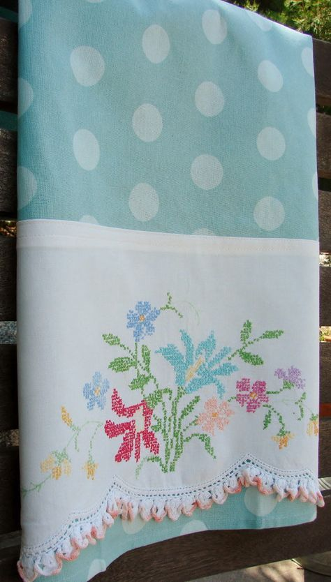 Recycled Vintage Pillowcase to Upcycled Tea by TwoGirlsLaughing, $20.00