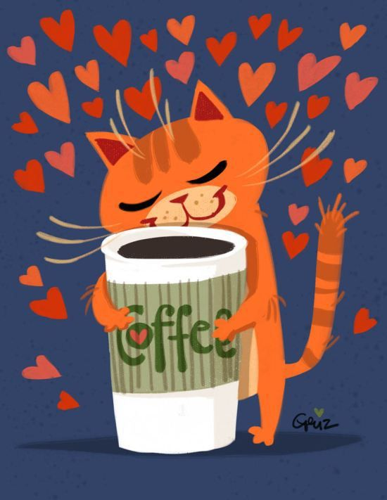 Even a cat loves coffee so much.