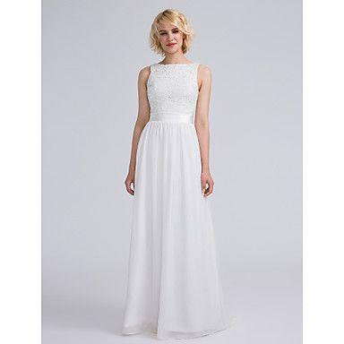 Lanting Bride® Floor-length Chiffon / Lace Bridesmaid Dress - Sheath / Column Bateau Plus Size / Petite with Lace / Sash / Ribbon – CAD $ 105.63