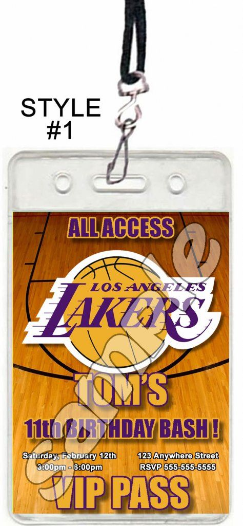 Los Angeles Lakers Set of 12 VIP Party Invitation Passes or Party Favors