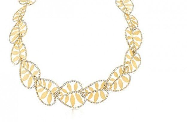 Collana Tiffany oro 18 ct con diamanti tondi taglio brillante