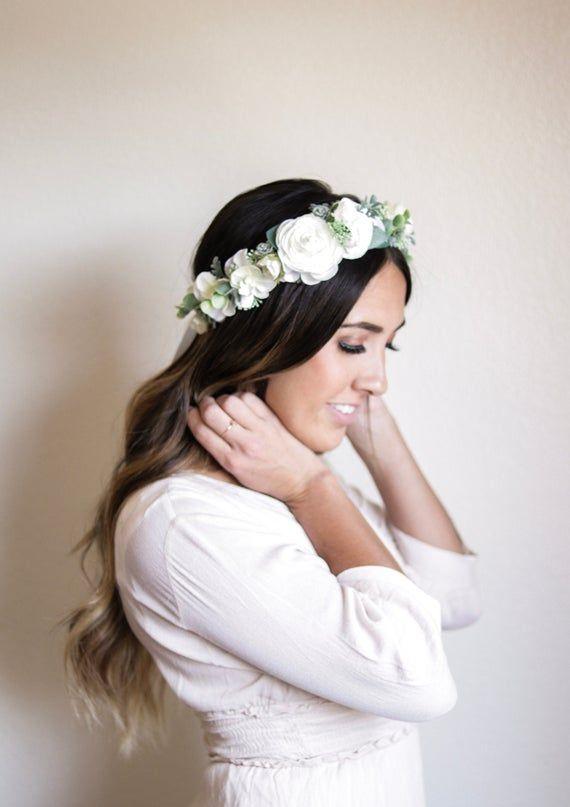 Ivory Crown Flower Crown Floral Crown Succulent Crown Etsy Flower Crown Bride Bride Flowers Bride Crown