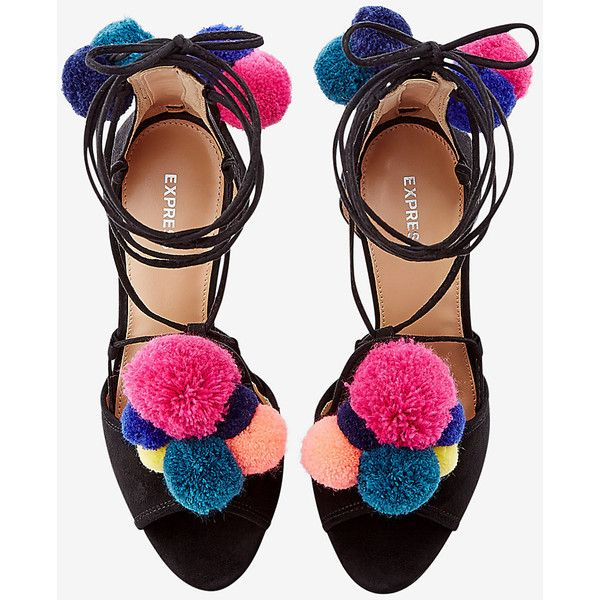 multicolor pom-pom lace-up pump (115 CAD) ❤ liked on Polyvore featuring shoes, pumps, heels, footwear, scarpe, multi colored shoes, colorful pumps, laced up shoes, multi-color pumps and pom pom pumps