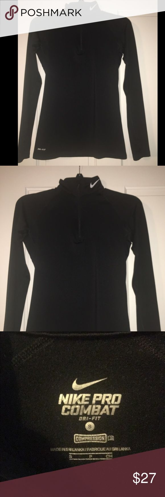 Nike 1/2 Zip Compression Pullover Great for working out in chilly weather. Compression. Dri-Fit. No stains, looks like new! Nike Tops Sweatshirts & Hoodies