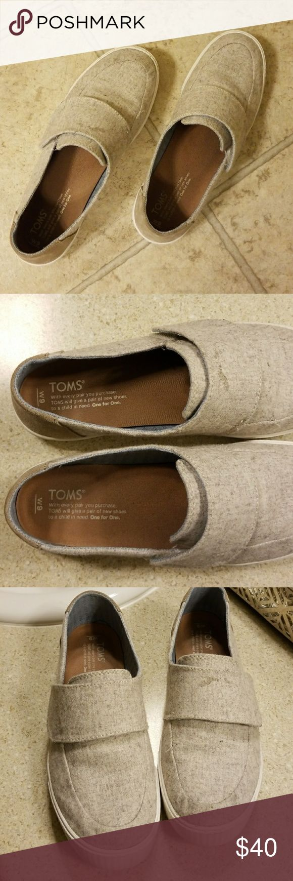 Light Gray Toms Super comfy gray toms with velcro strap. In great condition! Toms Shoes