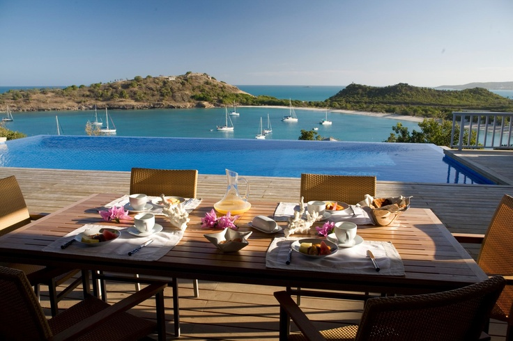 Breakfast by the pool at luxury villa Capri in Antigua, Caribbean