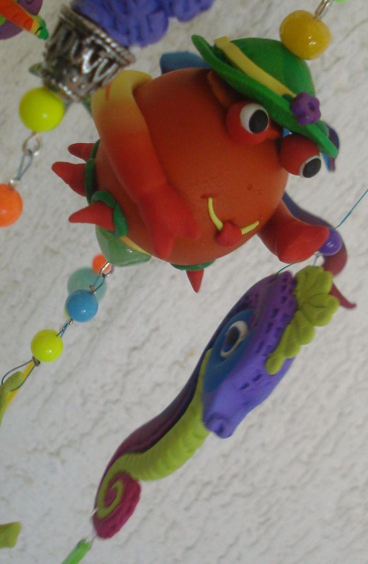 https://flic.kr/p/HgoC5M | Living in the sea - Mobile, handmade, polymer clay