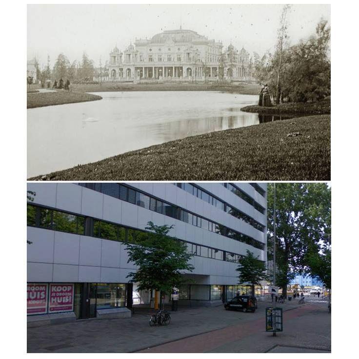 Voor de oorlog lag de Rotterdamse diergaarde min of meer voor het huidige Centraal Station, tussen de Diergaardesingel (vandaar!), de Kruiskade, de Karel Doormanstraat en het Weena. het societeitsgebouw van de Diergaarde, met daaronder ongeveer hetzelfde standpunt tegenwoordig, vanaf het Kruisplein richting het Groothandelsgebouw kijkend. In 1940 was de diergaarde al aan het verhuizen naar de nieuwe locatie in Blijdorp toen de bommen vielen.