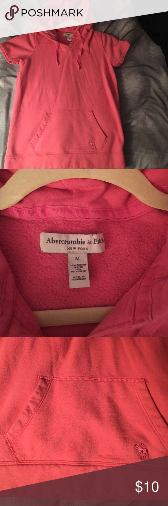 Abercrombie & Fitch short sleeve hoodie Abercrombie & Fitch short sleeve hoodie with pocket in the front. Worn more than a few times but would be cute for a workout. Size medium. Abercrombie & Fitch Tops Sweatshirts & Hoodies