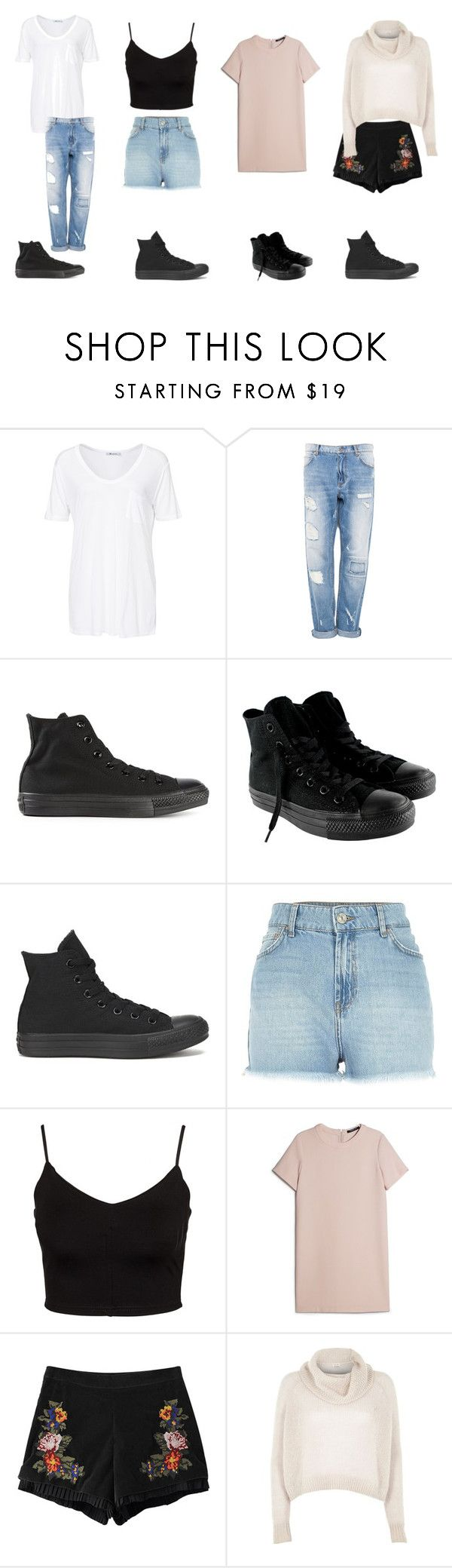 """""""Casual Outfits With High Top Black Converse"""" by samsus ❤ liked on Polyvore featuring T By Alexander Wang, Pull&Bear, Converse, River Island, Glamorous, MANGO, Chicnova Fashion, casual, converse and casualoutfit"""