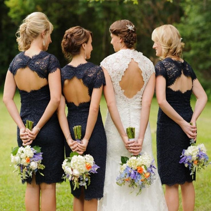 Wholesale Bridesmaid Dress - Buy Navy Blue Sheath Column Knee Length Lace Bridesmaid Dresses Open Back Backless Short Sleeve Cocktail Gowns Short Prom 2015 Custom Made, $88.3 | https://DHgate.com bridesmaid dress, bridesmaid dresses