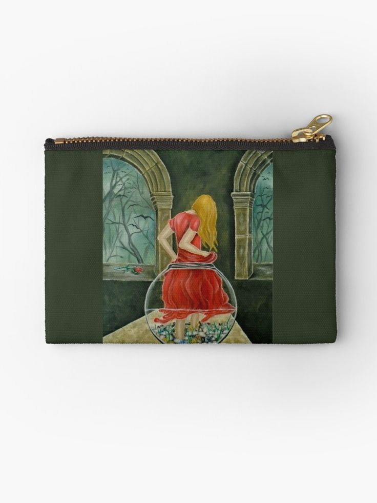 Studio Pouch,  fishjar,fishbowl,girl,woman,female,feminine,figure,red,dress,long,hair,colorful,magical,impressive,fantasy,cool,beautiful,unique,trendy,artistic,unusual,accessories,for sale,design,items,products,presents,gifts,ideas,carry all pouch,redbubble