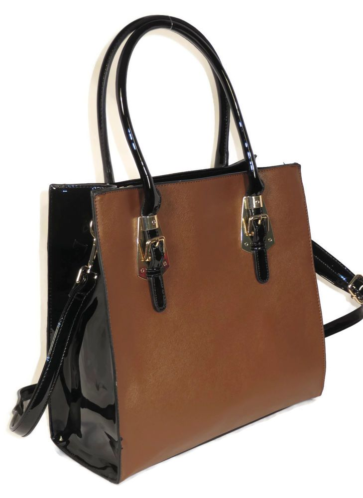 Designer Inspired Handbag Bag Purse Tote Satchel Brown Faux Leather Fall 2014