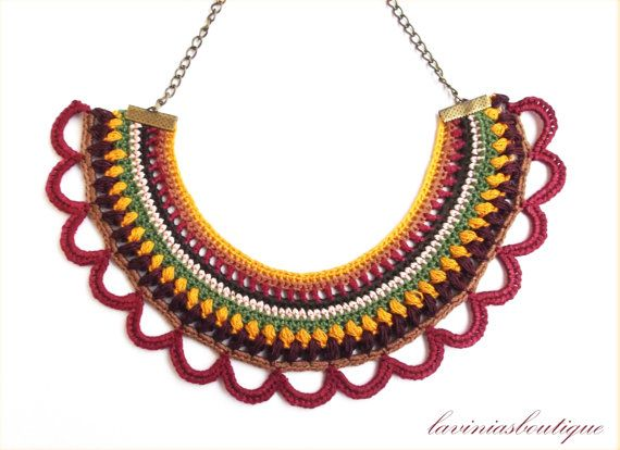 free shipping / crochet necklace / fiber necklace / statement jewelry / colorful ethnic necklace / bib textile necklace by laviniasboutique